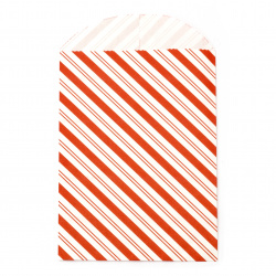 Paper gift bag 12x16 cm with a cover 3 cm striped red -10 pieces