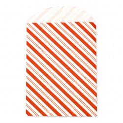 Хартиен плик за подарък 12x16 см с прихлупване 3 см райе червено -10 броя