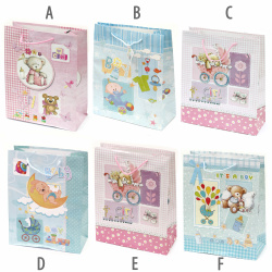 Baby Paper Gift Bag 26x31 cm Mixed