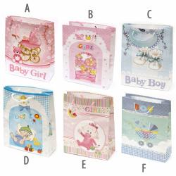 Geantă cadou din carton 26x31 cm pentru bebeluși ASORTE