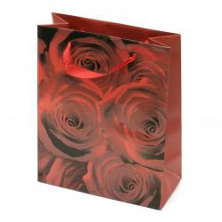 Geantă cadou din carton 196x245x88 mm cu trandafiri