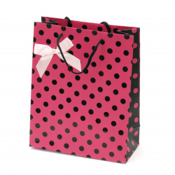 Gift bag 196x245x88 mm pink with black dots