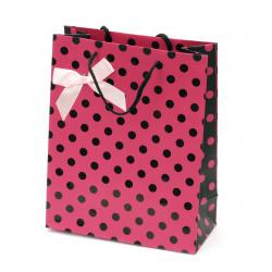 Geantă cadou din carton 196x245x88 mm roz cu puncte negre