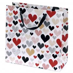 Geantă cadou din carton inimi de 298x298x128 mm