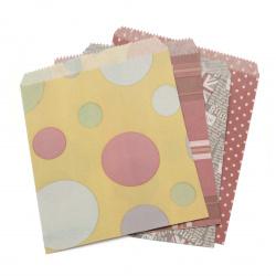 Хартиен плик 18x20.5 см с прихлупване 1.5 см АСОРТЕ модели и цветове -10 броя