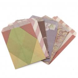 Хартиен плик 9.5x12.5 см с прихлупване 1.5 см АСОРТЕ модели и цветове -20 броя
