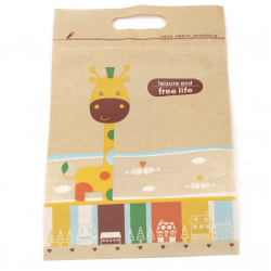 Paper kraft bag with bottom and window with top seal with zipper (channel) 27.5x17 cm