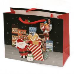 Торбичка подаръчна от картон 17x24x8 см Коледа АСОРТЕ 3D