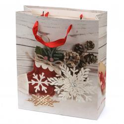 Торбичка подаръчна от картон 26x32x10 см Коледа АСОРТЕ 3D