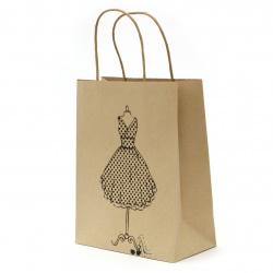 Торбичка подаръчна от крафт хартия 25x20x10 см с щампа рокля