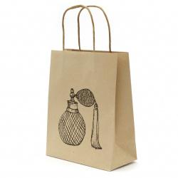 Торбичка подаръчна от крафт хартия 25x20x10 см с щампа парфюм