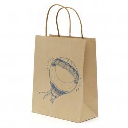 Торбичка подаръчна от крафт хартия 25x20x10 см с щампа балон