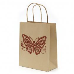Geantă cadou din hârtie kraft 25x20x10 cm cu imprimeu fluture