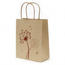 Торбичка подаръчна от крафт хартия 25x20x10 см с щампа глухарче