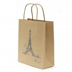 Geantă cadou din hârtie kraft 25x20x10 cm cu imprimarea Turnului Eiffel