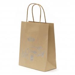 Торбичка подаръчна от крафт хартия 25x20x10 см с щампа ретро кола