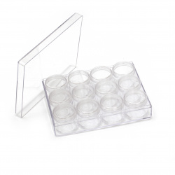 Column Plastic Bead Containers 16x12x4 cm with 12 cylindrical boxes