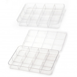 Box plastic 23x15x3.5 cm with 12 compartments