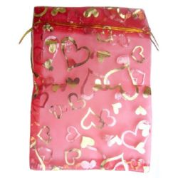 Торбичка за бижута 130x180 мм червена със злато