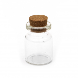 Glass Bottles, with Cork Tampions, Bead Containers2x30 mm  13 ml