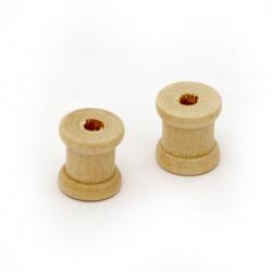Bobină din lemn 14x12 mm gaură 4 mm lemn culoare -4 bucăți
