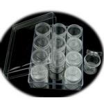 Кутия прозрачна 16x12.2x5.5 см с 12 цилиндрични кутийки 3.8x5 см