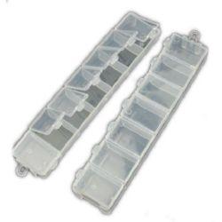 Cutie dublă din plastic de 15,5x3,3x1,8 cm cu 14 compartimente cu capace separate