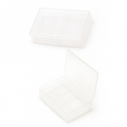 Plastic box 10.3x6.8x3 cm with 6 compartments double-faced