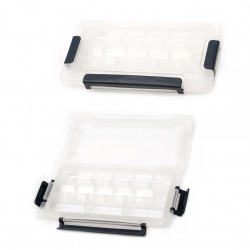 Beads Storage Plastic Box 23x11.5x3.4 cm with 15 movable compartments