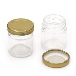 Glass jar 53x43 mm metal cap color gold 35 ml
