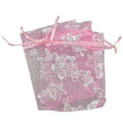 Pungulita bijuterii 90x70 mm roz cu argint
