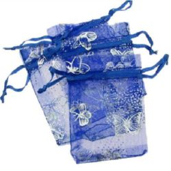 Organza Gift Bags 90x70 mm blue with silver
