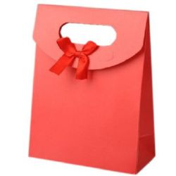 Торбичка за бижута от картон със сатенена панделка 163x123 мм - червена