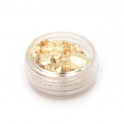 Фино фолио за декорация в кутийка 30x14 мм цвят злато -5 грама