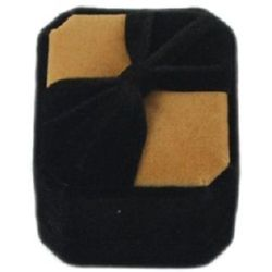 Кутийка за бижута 5x4.5 см кадифена черно/бежаво