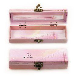 Кутия с огледало и метална закопчалка 19x5.6x4.5 см цвят АСОРТЕ
