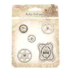 Bretele metalice decorative și scrapbooking Auto vintage 5 piese
