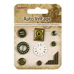 Broduri și elemente adezive pentru decorare și scrapbooking metal Auto vintage 9 piese