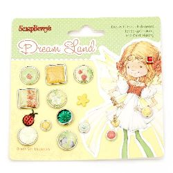 Dream land decoration and scrapbooking brads 15 pieces