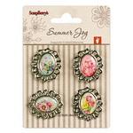 Autocolante, decorațiuni cu flori cu elemente metalice, 4 buc