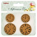 Autocolante decorative, material din plută, ceai afternoo, 4 bucăți