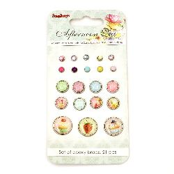 Afternoon Tea Brads for Scrapbooking & Decoration 21 pieces
