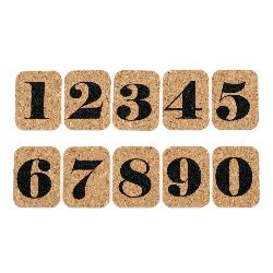 Decorative Stickers, Cork Material, Numbers, 10 pieces