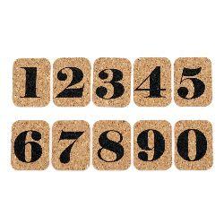 Autocolante decorative, material din plută, numere, 10 bucăți