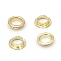 Insulete metalice pentru decor 12x3,5 mm orificiu 8 mm culoare aur Eyelets - 100 bucăți
