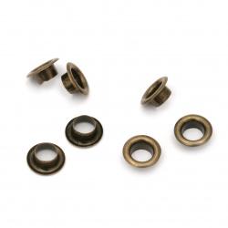 Μεταλλικά διακοσμητικά 8x3,5 mm τρύπα 4,8 mm αντικέ χάλκινο Eyelets - 50 τεμάχια