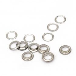 Μεταλλικά διακοσμητικά 13x3,5 mm τρύπα 8 mm ασημί Eyelets - 20 τεμάχια