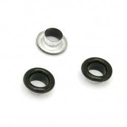 Μεταλλικά διακοσμητικά 10,5x5 mm τρύπα 6 mm μαύρο Eyelets - 20 τεμάχια