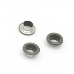 Μεταλλικά διακοσμητικά 10,5x5 mm τρύπα 6 mm γκρι Eyelets - 20 τεμάχια