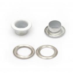 Ochi / împletituri ochiuri pentru decor 10.5x5 mm gaură 6 mm culoare alb Eyelets - 20 bucăți